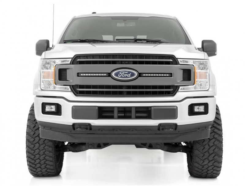 2018-2019 F150 XLT Includes 2 10 LED Bars Black 70808 fits Rough Country Custom LED Grille Mounting Kit F-150
