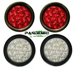 """Pandemic - Universal 4"""" RED or CLEAR LENSE LED TAIL LIGHTS - Includes 2 lights with SUPER BRIGHT red LED's, and Rubber Grommet Flanges - DOT APPROVED STOP / TURN /TAIL LIGHTS"""