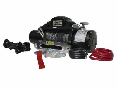 Engo USA - ENGO SR12S 12,000 lb Winch with Synthetic Rope & Aluminum Fairlead - 97-12000S