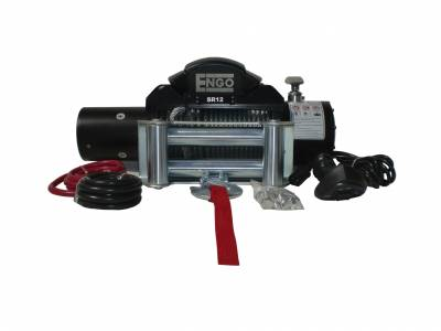 Engo USA - ENGO SR12 12,000 lbs Winch with Cable 3/8 x 85' & Heavy Duty Roller Fairlead - 97-12000