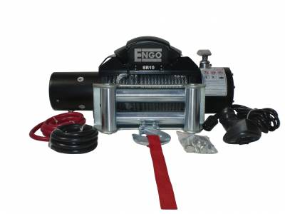 """Engo USA - Engo SR10 10,000 lbs Winch with Cable 3/8 x 85"""" & Heavy Duty Roller Fairlead - 97-10000"""