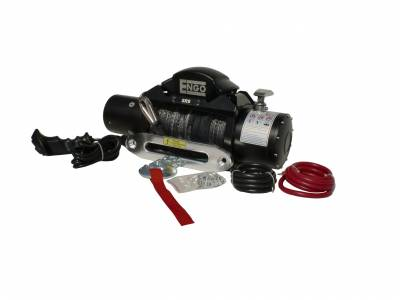 "Engo USA - ENGO SR9S 9000S lb Winch W/ 21/64"" X 92' Synthetic Rope & Hawse Aluminum Fairlead - 97-09000S"