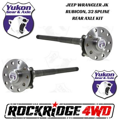 Yukon Gear & Axle - Jeep Wrangler JK Rubicon 07-18 Dana 44 32 Spline Chromoly Rear Axle Kit Yukon - YA WD44JKRUB-KIT