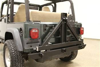 Rock Hard 4x4 - ROCK HARD 4X4™ PATRIOT SERIES REAR BUMPER WITH TIRE CARRIER FOR JEEP WRANGLER TJ, LJ, YJ AND CJ 1976 - 2006