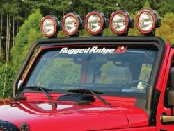 Lighting - Mounting - Rugged Ridge - Windshield Frame Light Bar,Textured Black, Rugged Ridge, Jeep Wrangler (Jk) 07-15      -11232.21