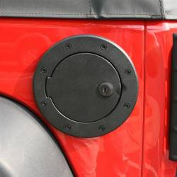 Exterior Body & Styling - Jeep Wrangler JK 07-18 - Rugged Ridge - Fuel Cover Black Aluminum, Rugged Ridge, JK Wrangler 07-15 Locking Skin Packaging  -11425.06