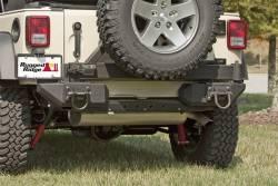 Jeep Wrangler JK 07-18 - Rear Bumpers & Tire Carriers - Rugged Ridge - XHD Rear Aluminum Bumper Pods, Textured Black, Rugged Ridge, Jeep Wrangler (JK) 2007-2015   -11547.01