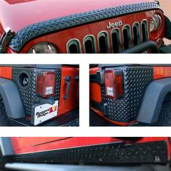 Rugged Ridge - Body Armor Guard Kit, Black, Rugged Ridge, Jeep Wrangler (JK) 07-15 2-Door, 5 Pieces   -11651.51