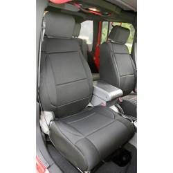 Jeep Seats & Covers - Jeep Wrangler JK Front Seats & Covers - Rugged Ridge - Seat Cover Front Black Jeep Wrangler JK 07-10 With Abs Flap   -13214.01