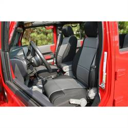 Jeep Seats & Covers - Jeep Wrangler JK Front Seats & Covers - Rugged Ridge - Seat Cover Front Black / Gray Jeep Wrangler JK 07-10 With Abs Flap   -13214.09