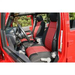 Jeep Seats & Covers - Jeep Wrangler JK Front Seats & Covers - Rugged Ridge - Seat Cover Front Black / Red Jeep Wrangler JK 07-10 With Abs Flap   -13214.53
