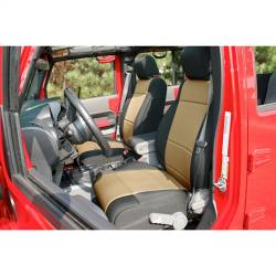 Jeep Seats & Covers - Jeep Wrangler JK Front Seats & Covers - Rugged Ridge - Seat Cover Front Pair, Neoprene, Black With Tan Inserts, Rugged Ridge, Jeep Wrangler JK 11-15   -13215.04
