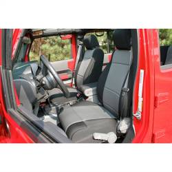 Jeep Seats & Covers - Jeep Wrangler JK Front Seats & Covers - Rugged Ridge - Seat Cover Front Pair, Neoprene, Black With Gray Inserts, Rugged Ridge, Jeep Wrangler JK 11-15   -13215.09