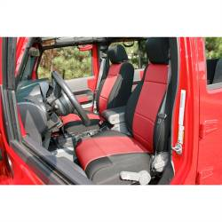 Jeep Seats & Covers - Jeep Wrangler JK Front Seats & Covers - Rugged Ridge - Seat Cover Front Pair, Neoprene, Black With Red Inserts, Rugged Ridge, Jeep Wrangler JK 11-15   -13215.53