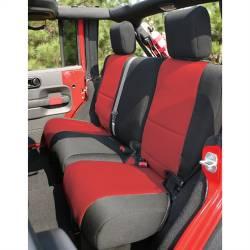 Seat Cover Rear 4-Door Jeep Wrangler JK 07-15 Black / Red  -13264.53