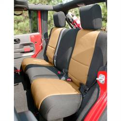Jeep Seats & Covers - Jeep Wrangler JK Rear Seats & Covers - Rugged Ridge - Seat Cover Rear, 2-Door, Neoprene, Black With Tan Inserts, Rugged Ridge, Jeep WranglerJK 07-15  -13265.04