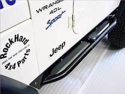 Rock Hard 4x4 - ROCKHARD 4X4 Jeep Wrangler TJ Rocker Guards (Powder Coated w/side tubing  -RH3001-SC