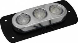 ACCENT LIGHTING - BILLET PODS - VISION X Lighting - Vision X FLAT MOUNT 3 LIGHT LED BILLET POD - AVAILABLE IN AMBER, BLUE, GREEN, RED OR WHITE     -HIL-DLF3