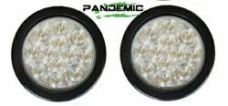 """Pandemic - Universal 4"""" RED or CLEAR LENSE LED TAIL LIGHTS - Includes 2 lights with SUPER BRIGHT red LED's, and Rubber Grommet Flanges - DOT APPROVED STOP / TURN /TAIL LIGHTS - Image 3"""