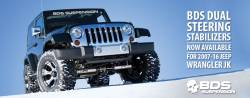 Wrangler - 2012-2018 JK 2 Door - BDS Suspension - BDS Suspension Jeep Wrangler JK Dual Steering Stabilizer Kit *CHOOSE STABILIZER* - 55378