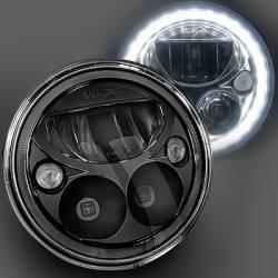 "Lighting - LED Headlights - VISION X Lighting - VISION X VORTEX 7"" ROUND SEALED LED HEADLIGHTS FOR JEEP **BLACK CHROME**  DOT APPROVED - XIL-7RDBKITJK"