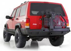 Jeep Cherokee XJ 84-01 - Rear Bumpers & Tire Carriers - Smittybilt - XRC Rear Bumper W/Hitch and Tire Carrier 84-01 Cherokee XJ Black Textured Smittybilt