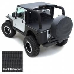 Tonneau Cover For OEM Soft Top W/Channel Mount 97-06 Wrangler TJ Not LJ Models Denim Black Smittybilt