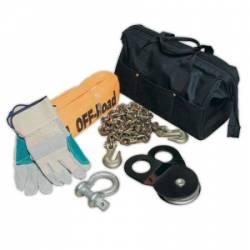 Smittybilt - Trail Equipment / Air Compressors - Smittybilt - Winch Accessory Kit Includes Chain, Strap, Snatch Block, Shackle & Gloves Smittybilt