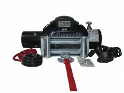 "Winches & Recovery Gear - 8,000 to 16,000 lbs Electric Winches - Engo USA - Engo SR10 10,000 lbs Winch with Cable 3/8 x 85"" & Heavy Duty Roller Fairlead - 97-10000"