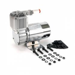 VIAIR - VIAIR 100C Chrome Compressor Kit w/ Omega Mounting Bracket (12V, CE, 15% Duty, Sealed) - 10016