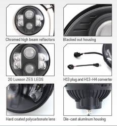 PRO COMP - Pro Comp Explorer Lighting 7 Inch Round LED Headlamp Replacement - Pair (Clear) | NEW PRODUCTION - 76402P - Image 2
