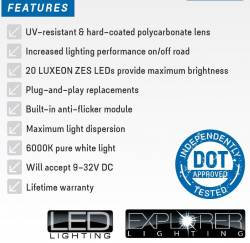 PRO COMP - Pro Comp Explorer Lighting 7 Inch Round LED Headlamp Replacement - Pair (Clear) | NEW PRODUCTION - 76402P - Image 3