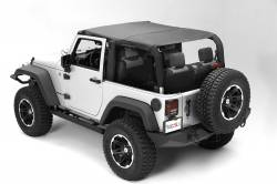Jeep Tops & Hardware - Jeep Wrangler JK 2 Door 07+ - Rugged Ridge - MONTANA POCKET ISLAND TOPPER, BLACK DIAMOND; 10-18 WRANGLER JK, 2 DOOR - 13621.35