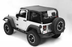 Jeep Tops & Hardware - Jeep Wrangler JK 2 Door 07+ - MONTANA POCKET ISLAND TOPPER, BLACK DIAMOND; 10-18 WRANGLER JK, 2 DOOR - 13621.35