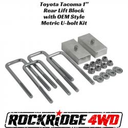 "TOYOTA - Suspension & Components - Toyota Tacoma & Tundra 1"" Rear Lift Block with OEM Style Metric U-bolt Kit - LR-TACOBUBK1"