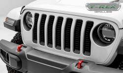 "T-Rex Grilles - T-REX Jeep Wrangler JL - Billet Series - 3/16"" Thick Laser Cut Aluminum - Insert Bolts-On Behind Factory Grille - Black Powder Coat Finish - 6204931"