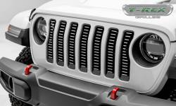 T-Rex Grilles - T REX Jeep Wrangler JL - Billet Series - 3/16' Thick Laser Cut Aluminum - Insert Bolts-On Behind Factory Grille - Brushed Finish Face - 6204933