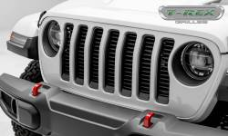 "T-Rex Grilles - T REX Jeep Wrangler JL - Billet Series - 3/8"" Thick Round Billet Stock - Insert Bolts-On Behind Factory Grille - Black Powder Coat Finish - 6204941"
