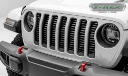 "T-Rex Grilles - T REX Jeep Wrangler JL - Billet Series - 3/8"" Thick Round Billet Stock - Insert Bolts-On Behind Factory Grille - Silver Powder Coat Finish -  6204946"