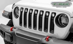 "T-Rex Grilles - T REX Jeep Wrangler JL - STEALTH Torch Series w/ (7) 2"" Round LED Lights - 1 Piece Frame & Formed Wire Mesh - 6314931-BR"