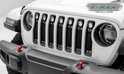"T-Rex Grilles - T REX Jeep Wrangler JL - Torch Series w/ (7) 2"" Round LED Lights - 1 Piece Frame & Formed Wire Mesh - Insert Bolts-On Behind Factory Grille - 6314931"