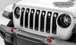 "T-Rex Grilles - T REX Jeep Wrangler JL - Torch Series w/ (7) 2"" Round LED Lights - 1 Piece Frame & Formed Wire Mesh - Insert Bolts-On Behind Factory Grille - 6314941"