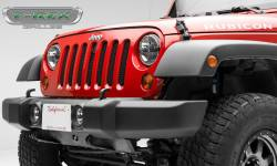 T-Rex Grilles - T REX 07-18 Jeep Wrangler JK - Sport Series - Formed Mesh Grille - with Accommodating Hood Lock Outlet - Black - 46482