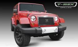 T-Rex Grilles - T REX 07-18 Jeep Wrangler X-METAL Series - Studded Main Grille - ALL Black - 1 Pc Custom Cut Center Bars - 6714831