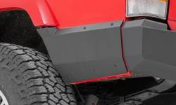 Jeep Cherokee XJ 84-01 - Rear Bumpers & Tire Carriers - Rough Country - ROUGH COUNTRY Jeep Rear Lower Quarter Panel Armor for Factory Flare (97-01 Cherokee XJ) - 10571