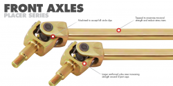 G2 Axle & Gear - G2 Dana 44 JK 35 Spline Placer Gold Front Chromoly Axle Kit