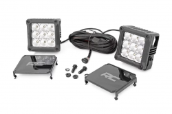 Lighting - Mounting - Rough Country - Rough Country 4-INCH SQUARE CREE LED LIGHTS - (PAIR | CHROME SERIES W/ COOL WHITE DRL) - 70905DRL
