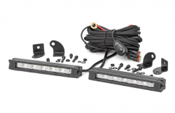 Lighting - Mounting - Rough Country - ROUGH COUNTRY 6-INCH SLIMLINE CREE LED LIGHT BARS (PAIR | BLACK SERIES) - 70406,70406BL