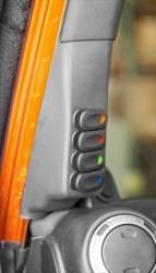 sPod Switch Panel Systems - Jeep Wrangler JK 07+ - Rugged Ridge - RUGGED RIDGE SWITCH POD KIT, A-PILLAR, 4 SWITCHES, BLACK, RHD; 11-18 WRANGLER JK - 17235.97