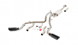 Exhaust Systems - Rough Country - Rough Country DUAL CAT-BACK EXHAUST SYSTEM W/ BLACK TIPS (15-20 F-150)
